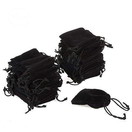 50 bolsas de terciopelo negro de 7 x 9 cm para joyería ...