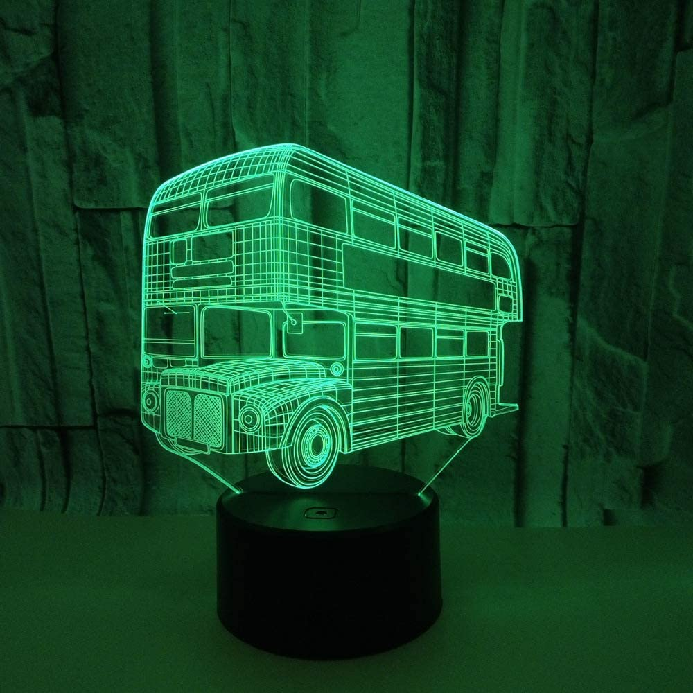 BFMBCHDJ Double Decker Bus 3D Acrílico Night Light Touch Switch ...