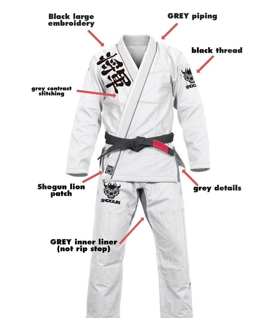 Shogun ファイト 柔術着 柔術着 「カンジ」450g パール織コットン プレミアム BJJ A1 ホワイト B0763BMB7X