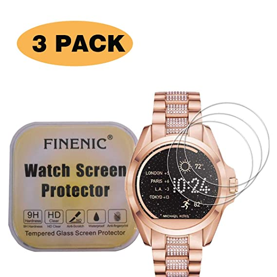 FINENIC【3-Pack】 Compatible for Michael Kors smartwatch Screen Protector Compatible for Michael Kors Bradshaw Screen Protector ...