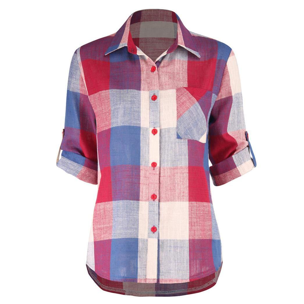 Mujeres,PANY Camisas BlusaCasual Color a Juego Manga Larga Botón Flojo Camisa de Cuadros Blusa Superior Mujer Blusa Estampada de Viscosa Camisas Clásica de ...