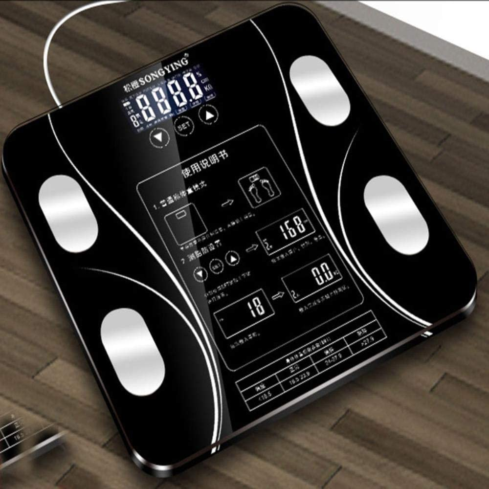 Yukie Bilance elettroniche USB Corpo di Caricamento misurazione del Grasso Bilancia Le bilance Domestico Grasso Scala Cinese precisa Bagno Verison,Batteria Nero Batteria Rosa