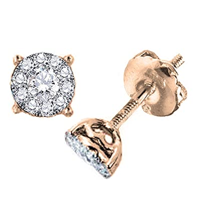 a34897cc1 Amazon.com: Dazzlingrock Collection 0.75 Carat (ctw) 14K Round Diamond  Cluster Stud Earrings Look of 2 CT total wt, Rose Gold: Jewelry