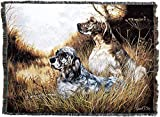 Pure Country Weavers – English Setter Woven Tapestry Throw Blanket with Fringe Cotton USA Size 72 x 54