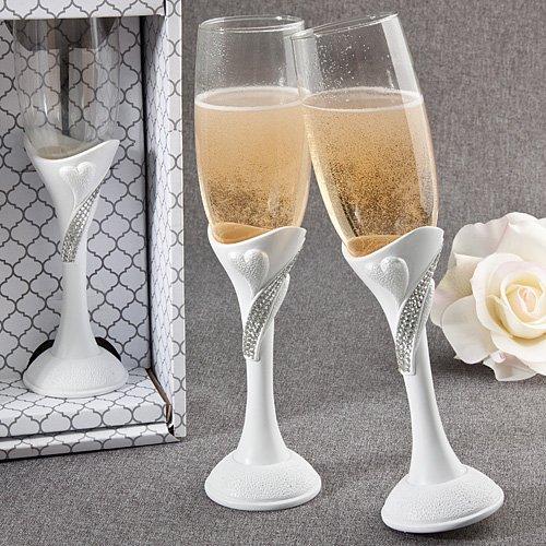 White Scrolled Heart Bling Rhinestone Toasting Flute Set in Gift Box