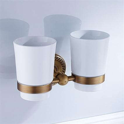 MIAORUI Titular de cepillo de dientes de cobre antiguo, doble taza de cerámica taza titular