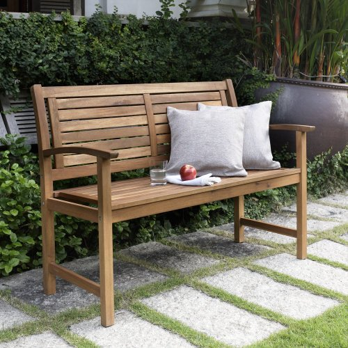 Bench Slat Back (Coral Coast Coral Coast Norwood 4 ft. Horizontal Slat Back Outdoor Wood Garden Bench, Medium Wood, Wood)