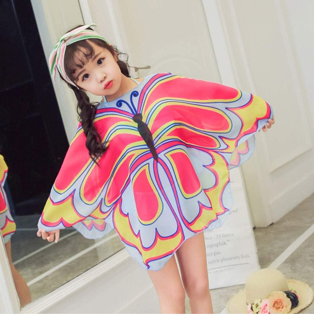 3-Piece Swim Set Toddler Little Kids Girls Cute Bow Pink Blue Bikini Set with Butterfly Swim Cover Up