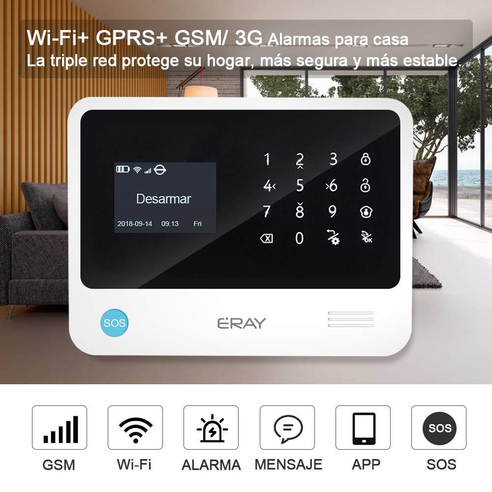 ERAY Alarmas para Casa WiFi+gsm/ 3G+GPRS, Antirrobo, Inalámbrico, Función de Timbre, App Gratuita, 100 Zonas, Multi-Accesorios y Pilas Incluidas, ...
