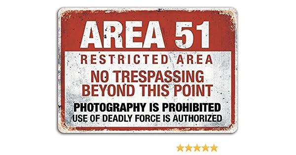 Cirrus Área 51 – Placa metálica para la Pared con Texto en inglés – Advertencia, Alien, teoría de la conspiración