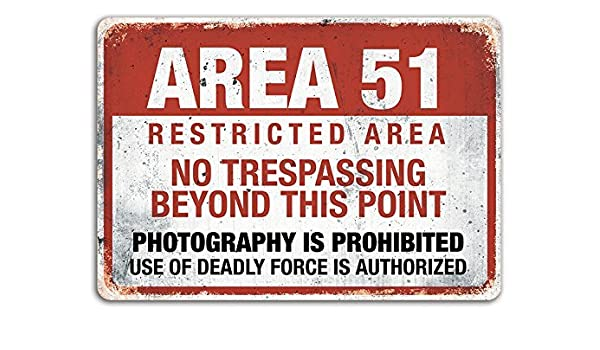 Amazon.com : Area 51 - Metal Wall Sign Plaque - Warning ...