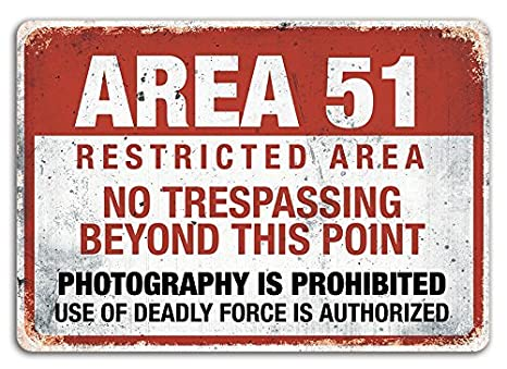Amazon.com: Area 51 Metal Signs Vintage Retro Wall Plaque ...