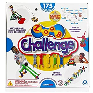 ZOOB STEM Challenge set free ball throwing sling trampoline to assemble target