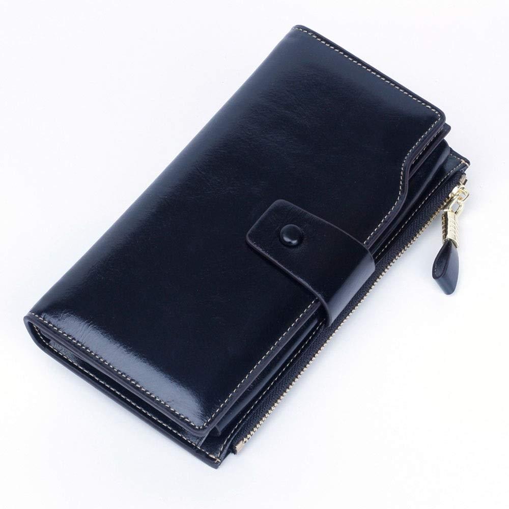 Black Women's Wallet AntiMagnetic RFID Leather Ladies Wallet MultiCard Female Women's Wallet (color   Coffee)