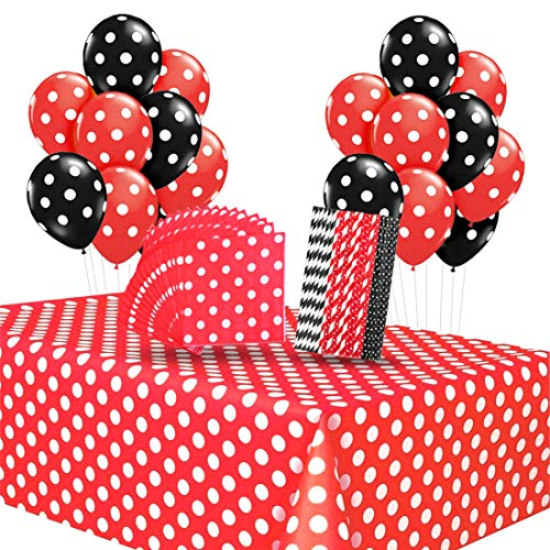 Mickey Mouse Party Supplies Red Polka Dot Tablecloth Napkins Straws Balloons for Girls Mickey Mouse Birthday Baby Shower Ladybug Birthday Party -