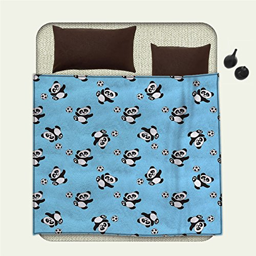 smallbeefly Soccer survival blanket Cute Panda Player Kicking a Ball Kids Boys Design Fun Animal Patternspace blanket Pale Blue Black White by smallbeefly