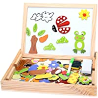 Arshiner Kids Educational Toy Set - Magnetic Jigsaw Puzzle Drawing Board Double Side Animals Puzzle Games
