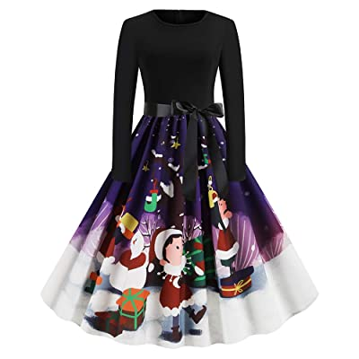 DEZZAL Women's Christmas Vintage Long Sleeve Fit and Flare Party Midi Belted Dress at Women's Clothing store