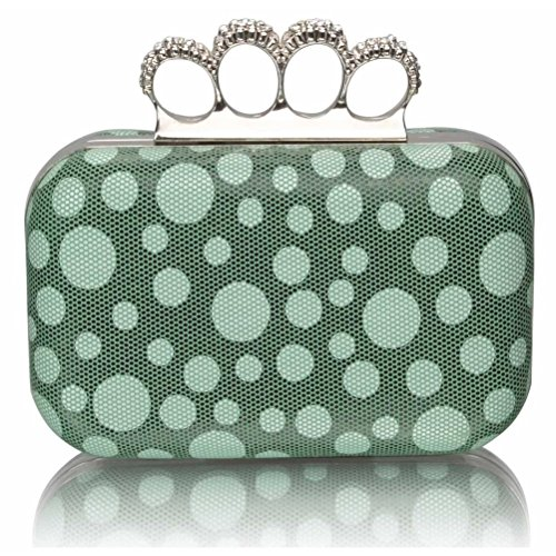LeahWard® GREEN For Women's Diamante CLUTCH Clutches Handbag Ceremony Wedding Luxury Clutch Night Purse Beads DOT Out 44qwAOr