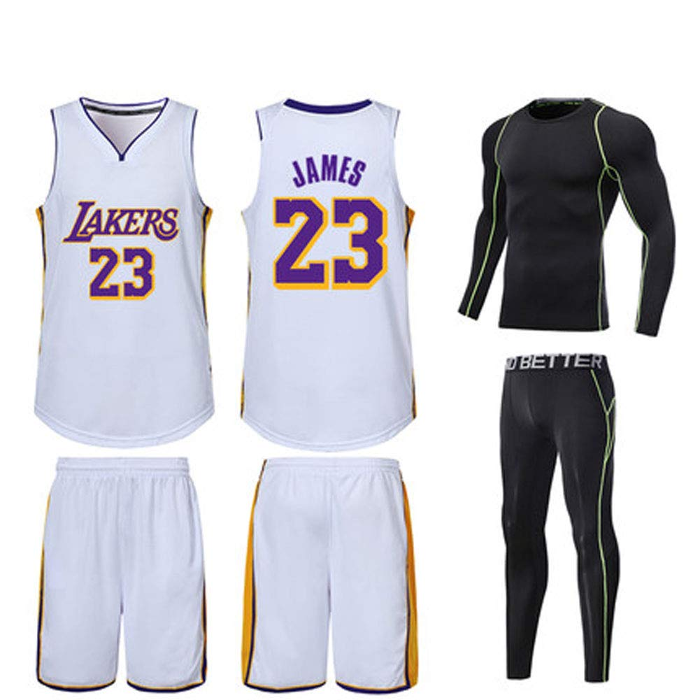 LCBH Los Angeles Lakers Trikots Basketball Uniform Top \u0026 Short Wright 23 King James Basketball Trikots-XXXL 90er Jahre Hip Hop Kleidung f/ür Party