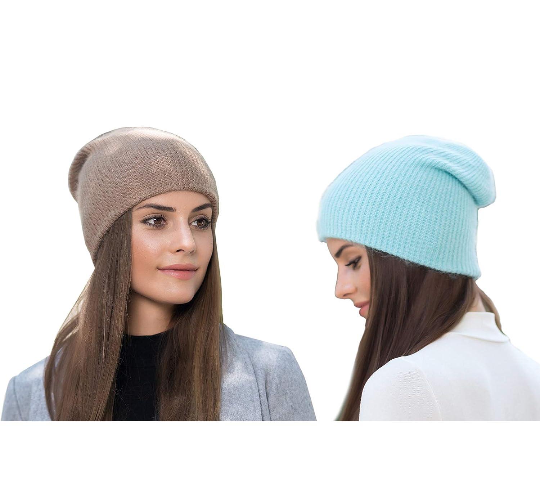 4ea33552c882a1 Farlenoyar Women Girls Winter Warm Hats Angora Rabbit Fur Knit Hats  Cashmere Cotton Beanie Hat Cap (Style#B) at Amazon Women's Clothing store: