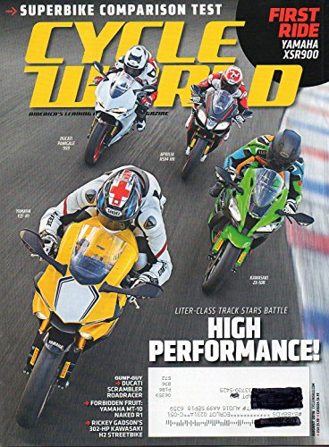 Cycle World 2016 America's Leading Motorcycle Magazine DUCATI SCRAMBLER ROADRACER Yamaha MT-10 Naked R1