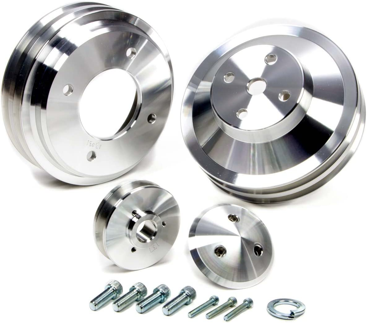 March Performance 13030 Performance Series Clear Powdercoat Aluminum Pulley Set Set of 3
