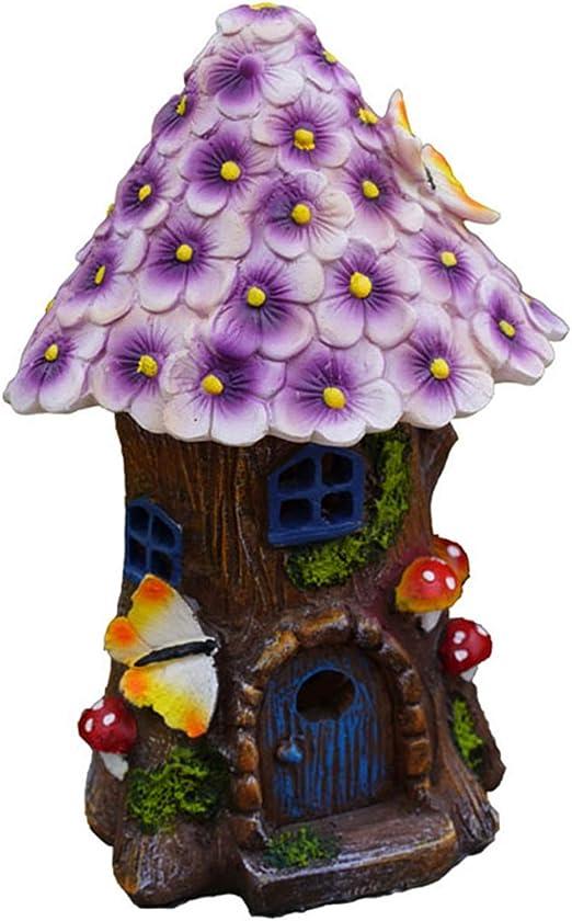屋外の庭の装飾のための紫色の花屋根やソーラーLEDライトレジンキノコの女神とフェアリーガーデンハウス(8.3インチトール)