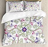 Is Eastern King the Same As King Anzona King Size Purple Mandala 3 PCS Duvet Cover Set, Classic Shabby Chic with Eastern Swirled Tulip Flowers Image, Bedding Set Bedspread for Children/Teens/Adults/Kids, Fern Green Magenta White