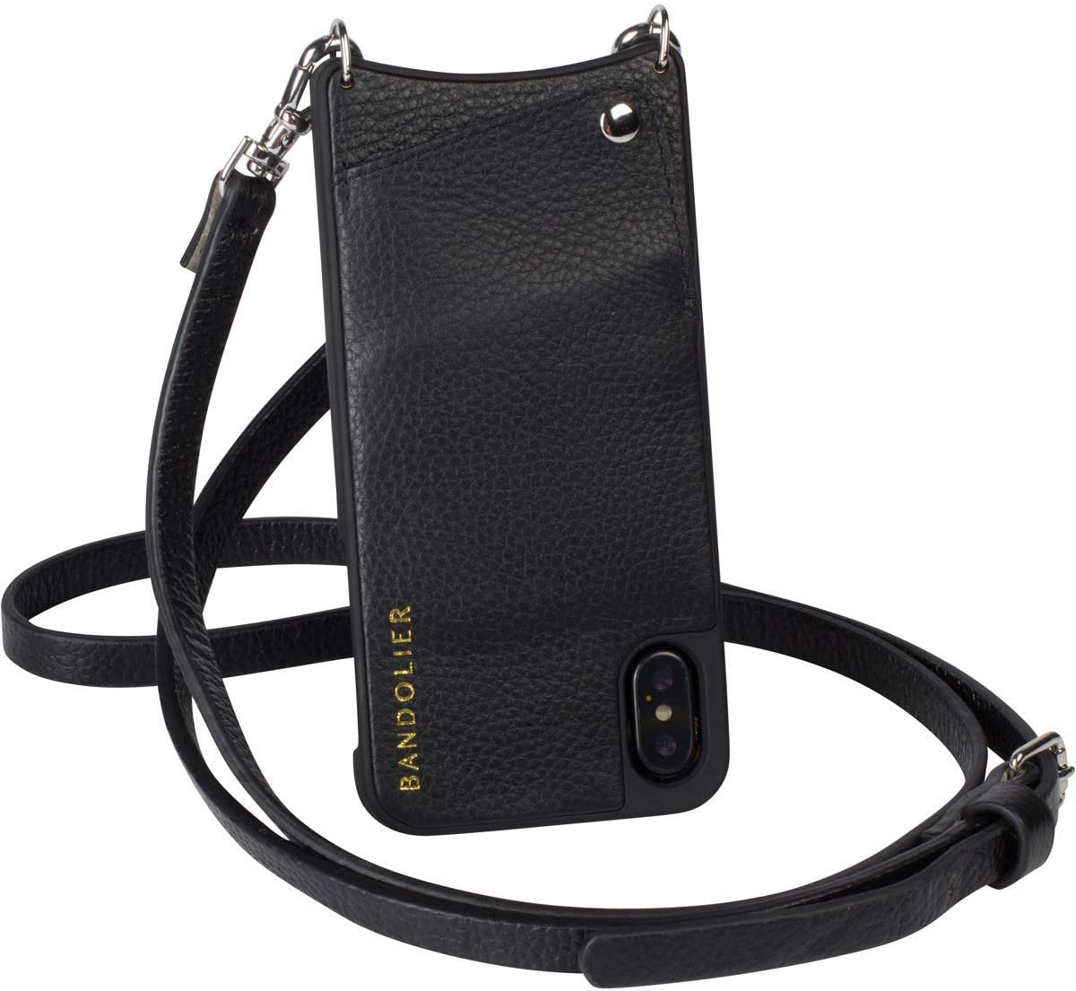 Bandolier [Emma] Crossbody Phone Case and Wallet - Compatible with iPhone 8 Plus, 7 Plus, 6 Plus, 6s Plus - Black Pebble Leather with Silver Detail (Renewed)
