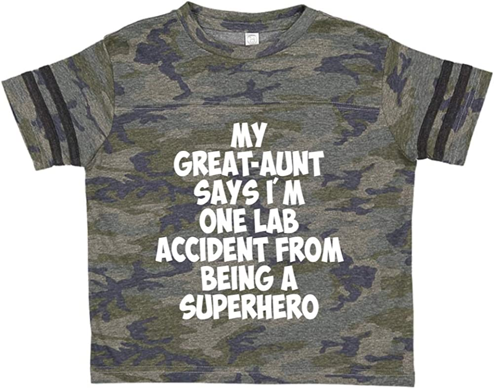 My Great-Aunt Says Im One Lab Accident from Being A Superhero Toddler//Kids Sporty T-Shirt
