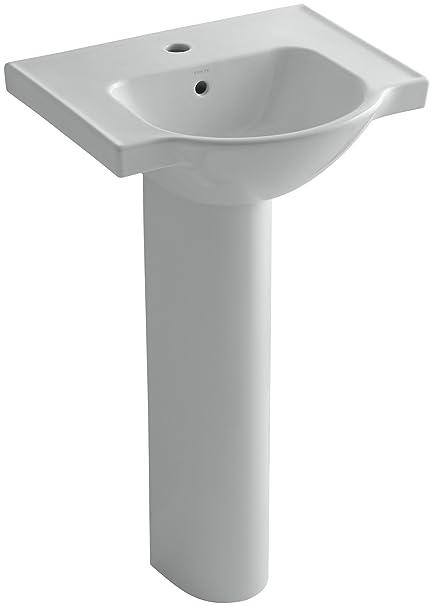 Captivating KOHLER K 5265 1 95 Veer Pedestal Bathroom Sink With Single Faucet Hole