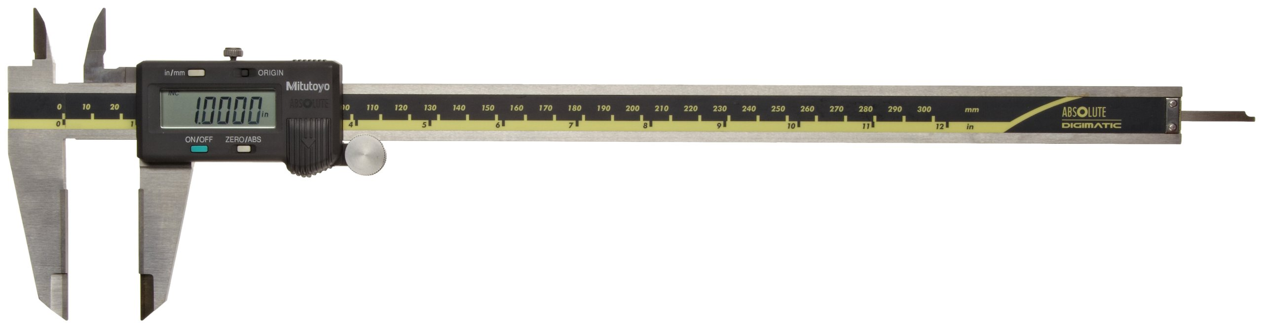 Mitutoyo 500-166 Absolute Digital Caliper, Stainless Steel, Battery Powered, Inch/Metric, 0-12'' Range, +/-0.0015'' Accuracy, 0.0005'' Resolution