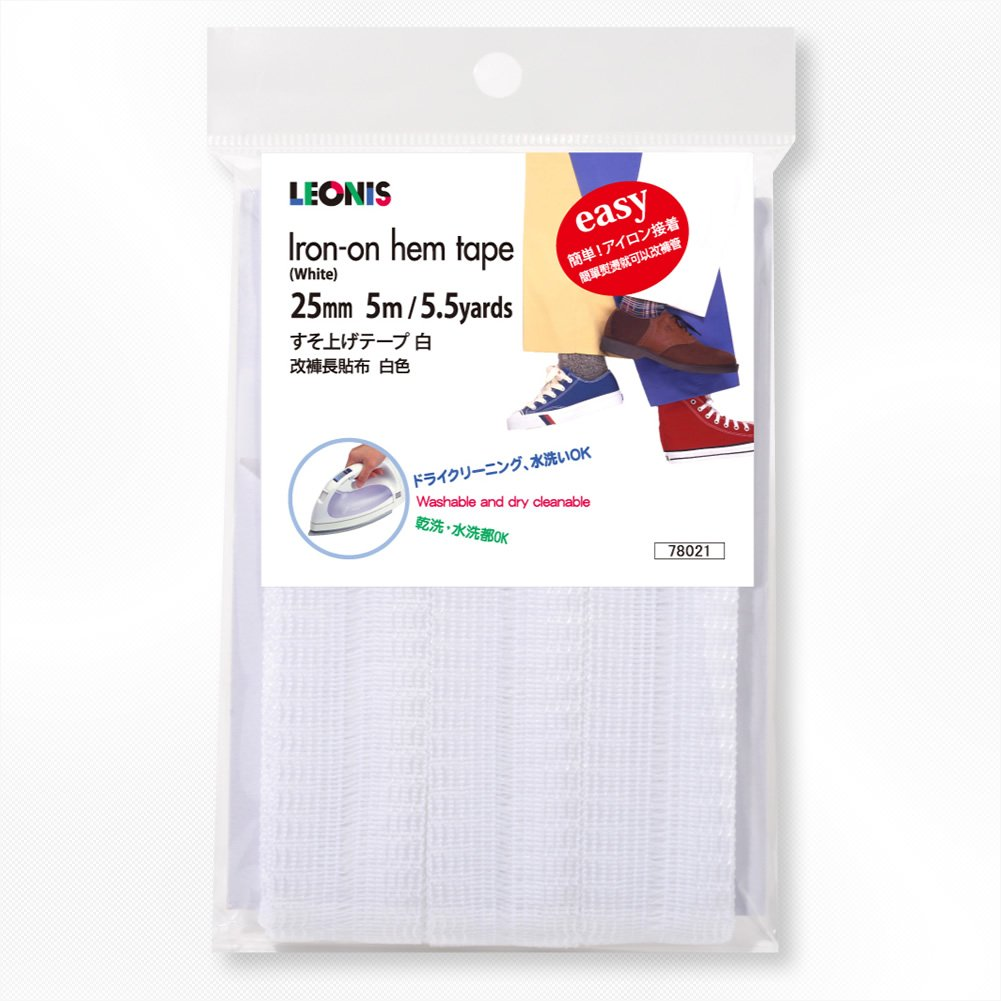 LEONIS Polyester Iron-On Hem Clothing Tape 1inch x 1.3yd 95722 25mm x 1.2m Beige