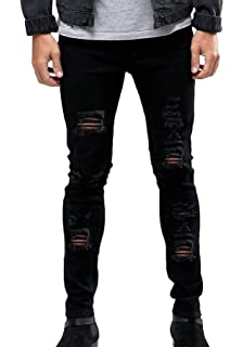 0ca8f5115e6c8 MEIKESEN Men s Ripped Destroyed Stretchy Knee Holes Slim Tapered Leg Jeans  Denim Pants