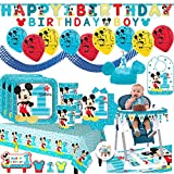 Mickey Mouse Fun To Be One Mega First Birthday Party Supplies Pack For 16 Guests With Plates, Cups, Napkin, Tablecover, Balloons, Birthday Banners, High Chair Kit, Bib, Mickey Hat and Exclusive Pin