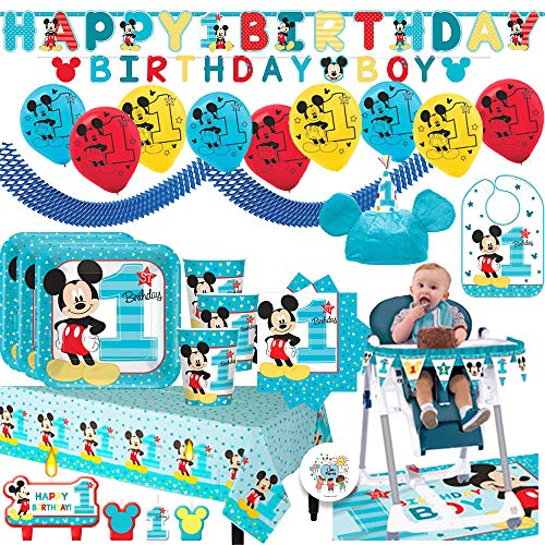 Mickey Mouse Fun To Be One Mega First Birthday Party Supplies Pack For 16 Guests With Plates, Cups, Napkin, Tablecover, Balloons, Birthday Banners, High Chair Kit, Bib, Mickey Hat and Exclusive Pin -