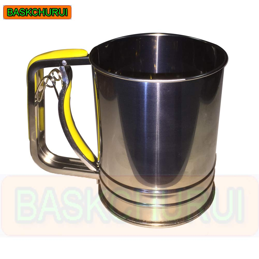 Hand-held Stainless Steel Flour Sifter with Silicone Handle Fine Mesh Sieve for Baking (3 Cup) by Baskchurui (Image #5)