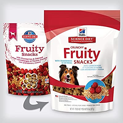 Hill's Science Diet Crunchy Fruity Snacks with Cranberries & Oatmeal Dog Treats, 8oz