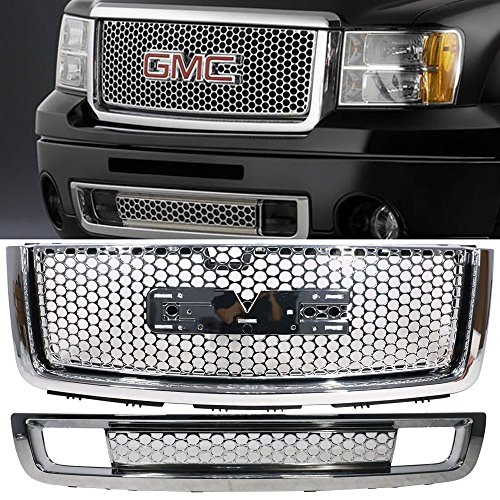 Grille Fits 2007-2013 GMC Sierra 1500 Denali | ABS Plastic Chrome Front Upper Grille + Lower Grill Guards By IKON MOTORSPORTS | 2008 2009 2010 2011 2012