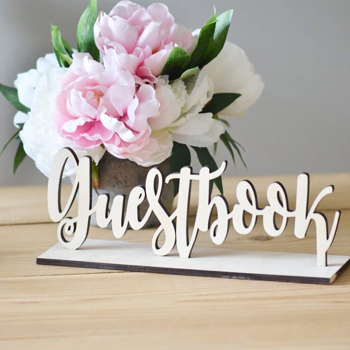 Heaviesk Tabelle Ornament aus Holz Hochzeit G/ästebuch Zeichen Dekor aus Holz rustikale Kunden Zeichen Buch f/ür Party Foto Requisiten