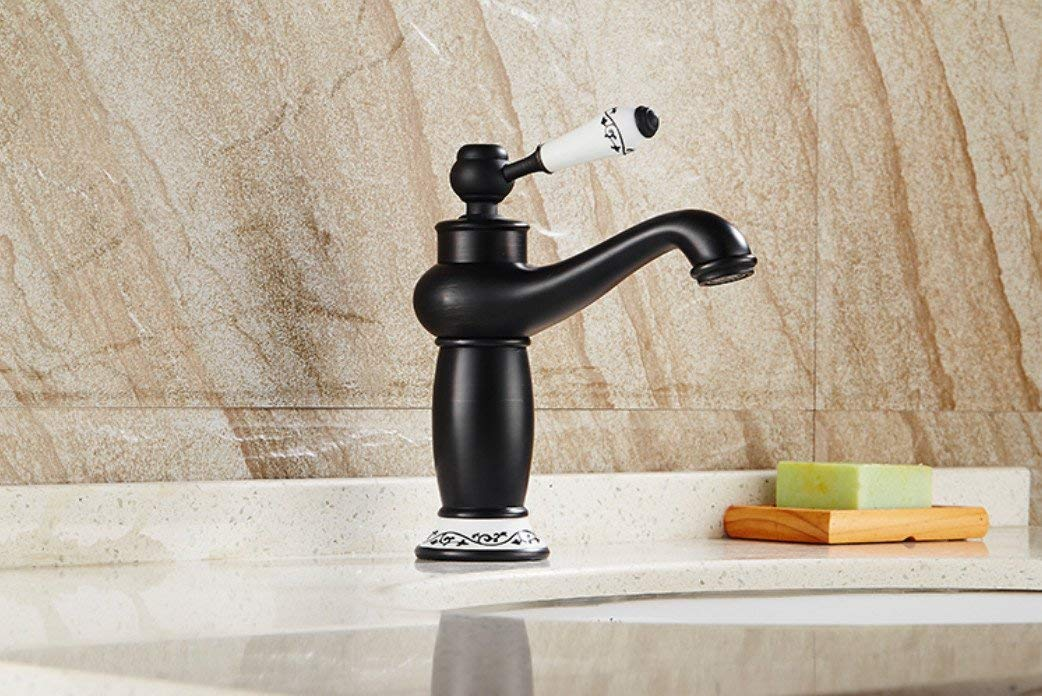 Oudan Taps Solid Brass Deck Mounted Bathroom Sink Basin Faucet Black Brass Ceramic Single Handle Retro Style Mixer Tap Taps (color   -, Size   -)