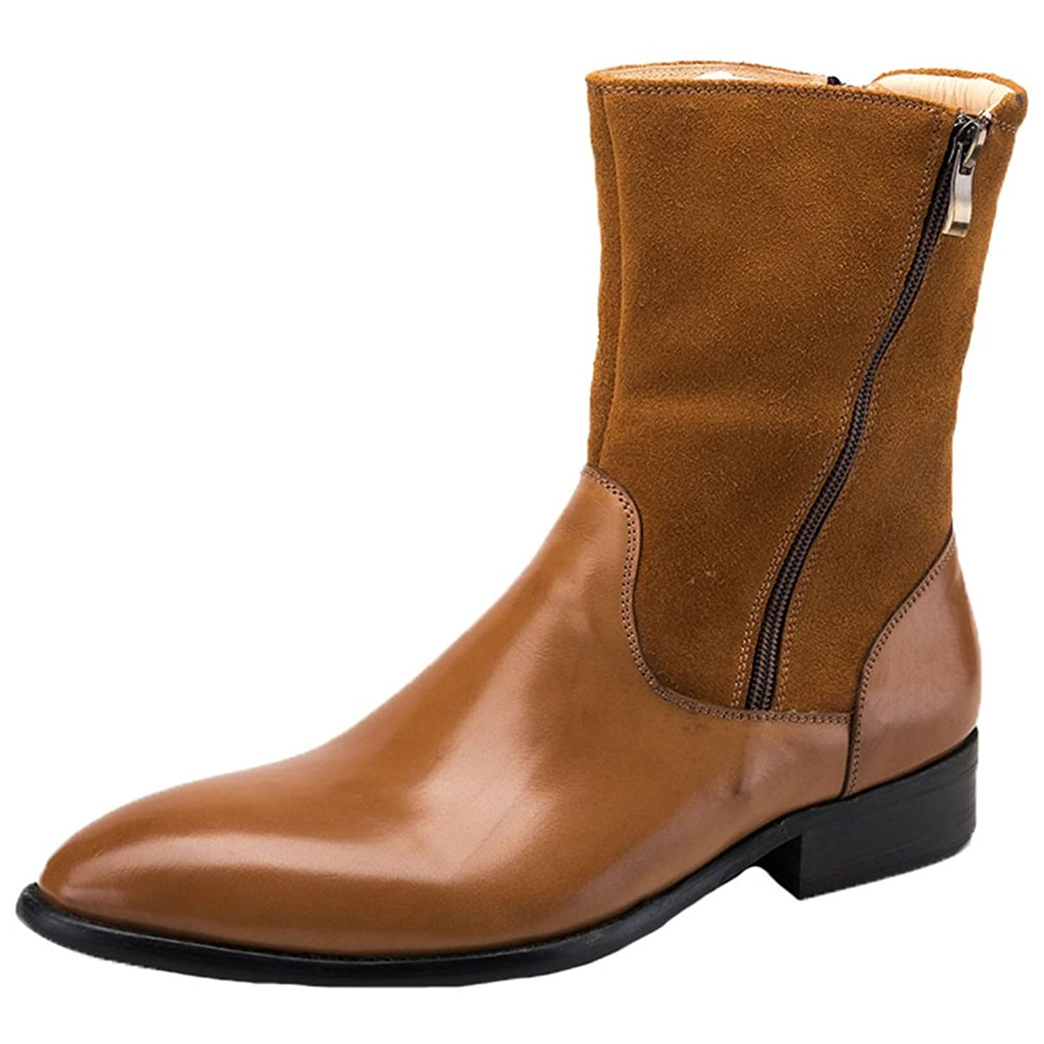 Santimon Men's Cowboy Boots Nubuck Leather Western Work Pointed Toe High Top with Double Zipper