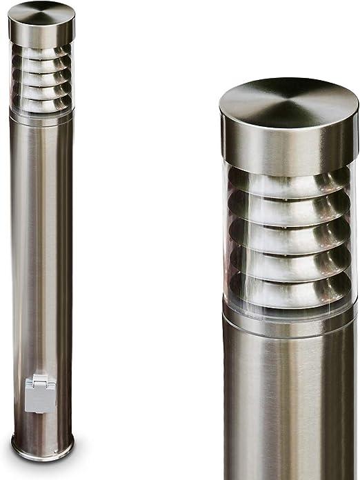 Gartenlampe mit E27-Fassung Au/ßenleuchte Dakar mit 2 Steckdosen Wegeleuchte 40 cm max Gartenbeleuchtung IP44 moderne Sockelleuchte aus Edelstahl und Kunststoff-Scheiben 15 Watt