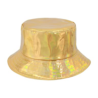 f52bf3cc Multifit Unisex Hologram Fisherman Cap Waterproof Bucket Hat Travel Sun Hat( Gold): Amazon.co.uk: Clothing