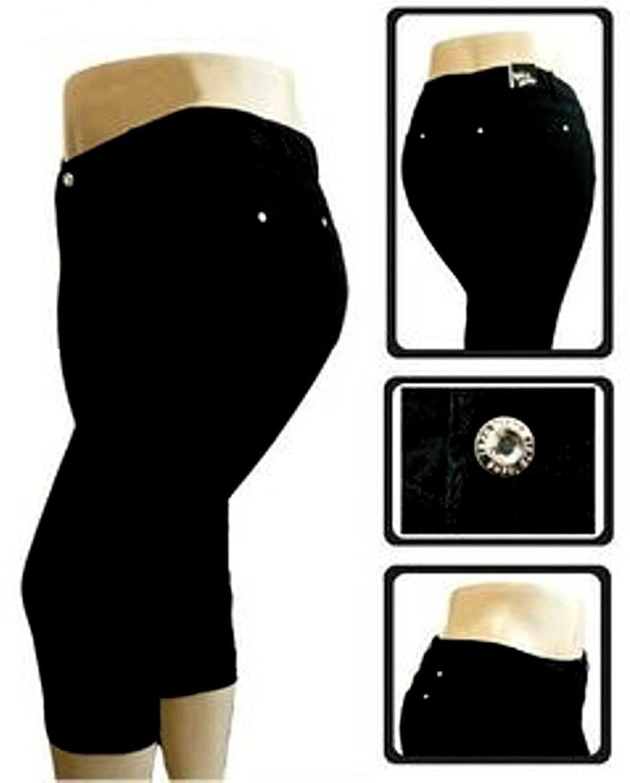 1826 Stretchy premium CAPRI BLACK denim jeans HIGH WAIST WOMENS PLUS size PC-680