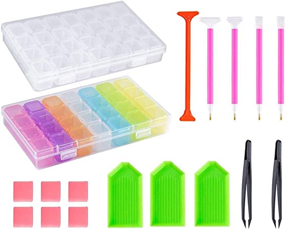 SODIAL - Juego de herramientas para cuadro de punto de cruz, caja de bordado de diamantes, caja