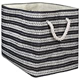 "DII Oversize Woven Paper Storage Basket or Bin, Collapsible & Convenient Home Organization Solution for Office, Bedroom, Closet, Toys, Laundry (Large - 17x12x12""), Black & White Basketweave"