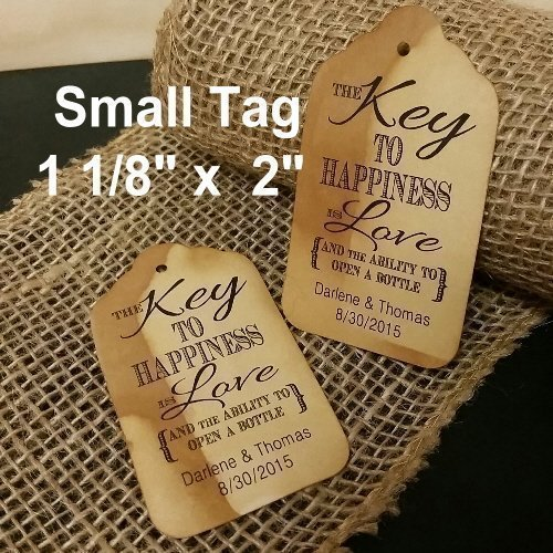 "Key to Happiness is Love personalized and the ability to open a bottle. SMALL White or Tea Stained Favor Tag sets of 25 Tags 1 1/8"" x 2"" (bottle opener favor tag...opener not included)"