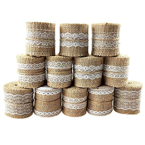 Trim Jute (12PCS Natural Burlap Ribbon Roll White Lace Jute Trims Tape for Wedding Decoration 25Yards/900 Inch by CSPRING)